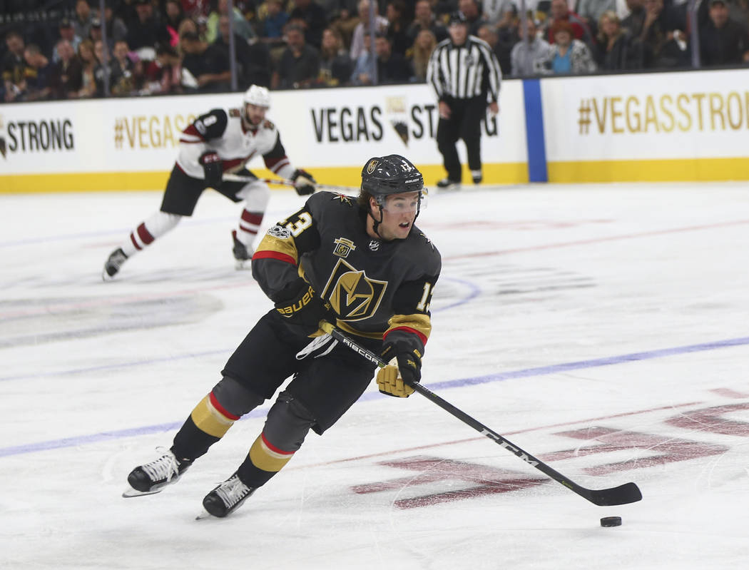 Vegas Golden Knights' Brendan Leipsic (13) guides the puck during an NHL hockey game against the Arizona Coyotes at T-Mobile Arena in Las Vegas on Tuesday, Oct. 10, 2017. Chase Stevens Las Vegas R ...