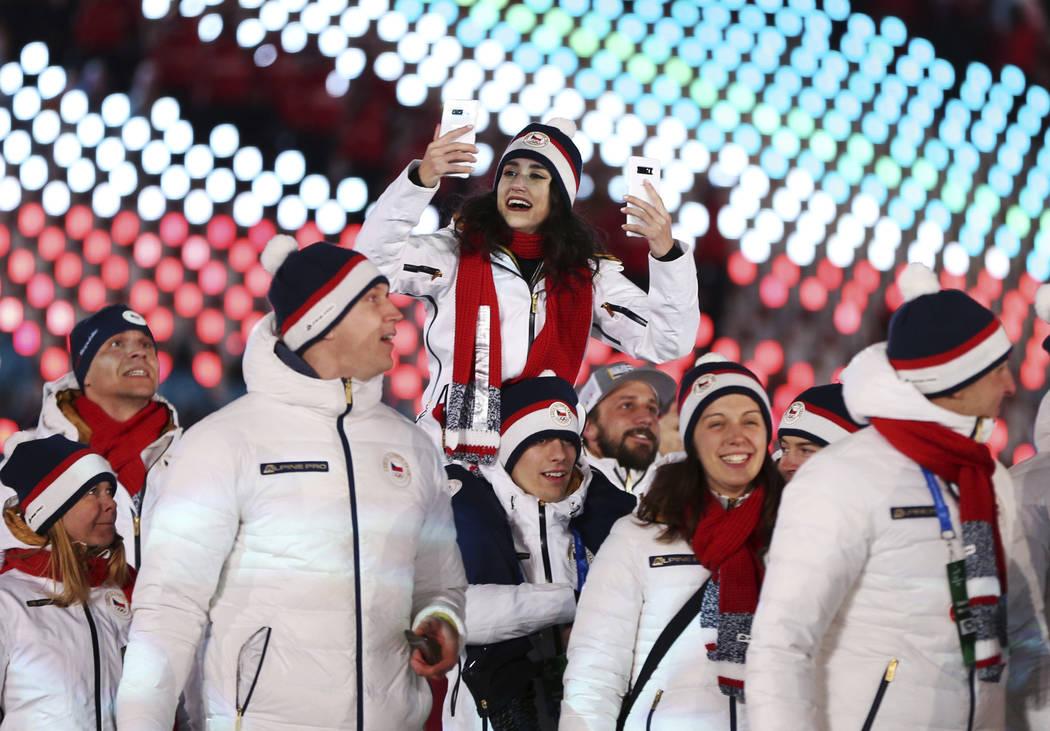Team Czech Republic walk in the stadium during the closing ceremony of the 2018 Winter Olympics in Pyeongchang, South Korea, Sunday, Feb. 25, 2018. (AP Photo/Natacha Pisarenko)