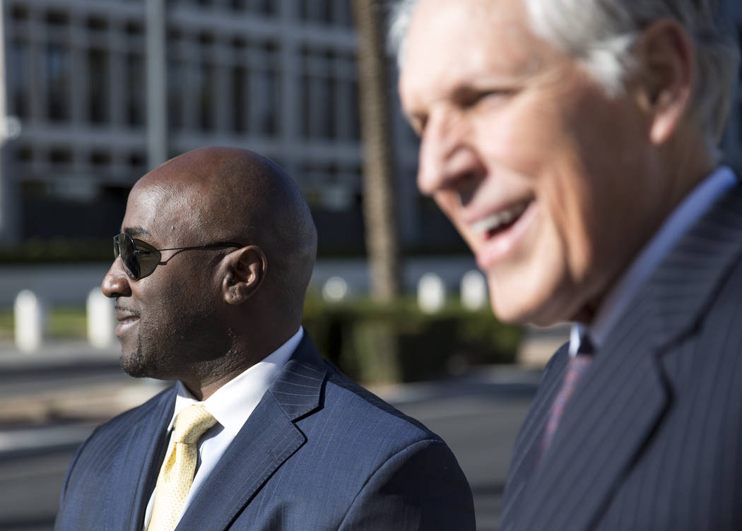 Former Las Vegas City Councilman Ricki Barlow, left, and attorney Richard Wright leave the Lloyd D George Courthouse in downtown Las Vegas on Monday, Feb. 26, 2018. Richard Brian Las Vegas Review- ...