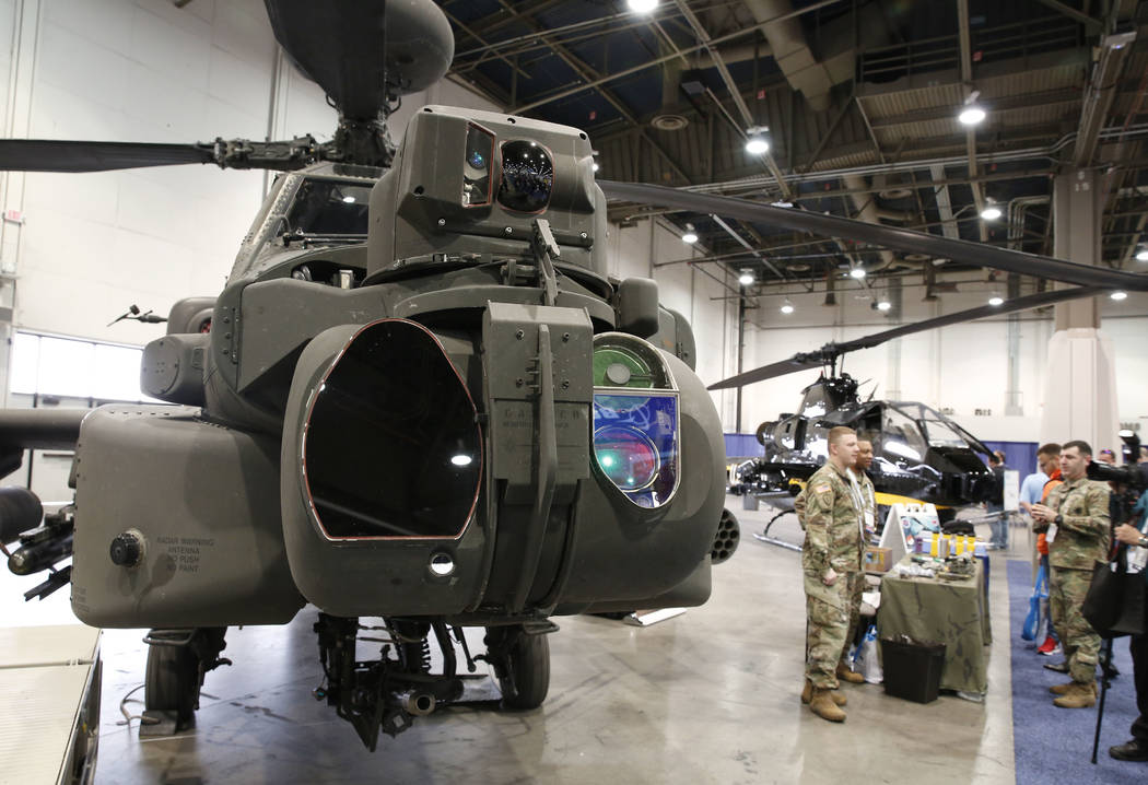 The U.S. Army helicopters are displayed during the 2018 International Helicopter Industry Exhibition at the Las Vegas Convention Center on Tuesday, Feb. 27, 2018, in Las Vegas. (Bizuayehu Tesfaye/ ...