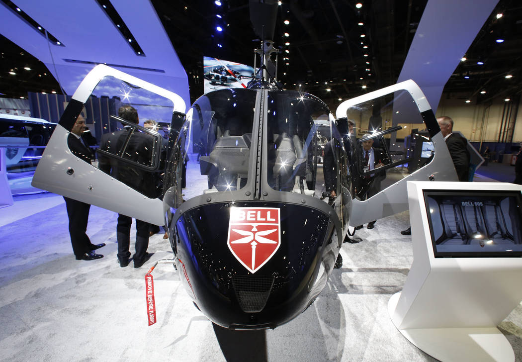 The BELL 505 helicopter is displayed during the 2018 International Helicopter Industry Exhibition at the Las Vegas Convention Center on Tuesday, Feb. 27, 2018, in Las Vegas. (Bizuayehu Tesfaye/Las ...