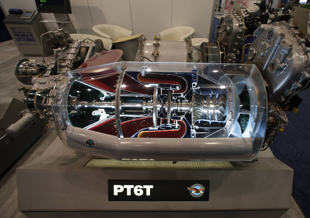 The PT6T helicopter engine, manufactured by Pratt & Whitney Canada, is displayed during the 2018 International Helicopter Industry Exhibition at the Las Vegas Convention Center on Tuesday, Feb ...