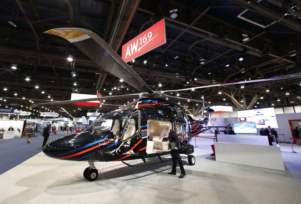 The AW169, 10-seat helicopter developed and manufactured by the Leonardo's Helicopter Division, is displayed during the 2018 International Helicopter Industry Exhibition at the Las Vegas Conventio ...