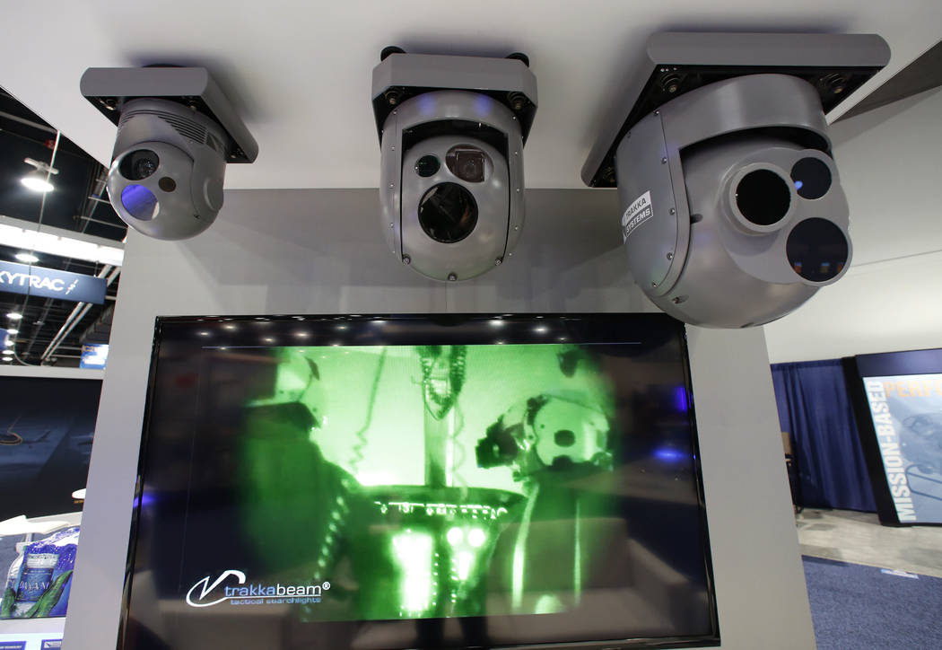 Helicopter cameras, manufactured by the TRAKA Systems, for industrial inspection, law enforcement and public safety use, are displayed during the 2018 International Helicopter Industry Exhibition  ...