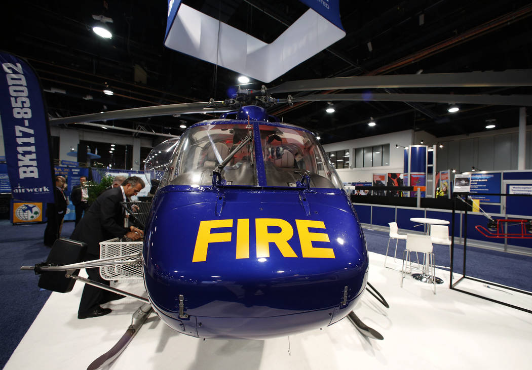 The Airwork BK117-850D2 rescue helicopter is displayed during the 2018 International Helicopter Industry Exhibition at the Las Vegas Convention Center on Tuesday, Feb. 27, 2018, in Las Vegas. (Biz ...