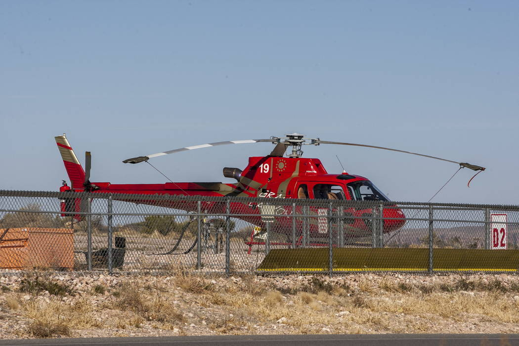 A Papillon helicopter at Grand Canyon West on the Hualapai Nation Indian Reservation in Arizona on Sunday, Feb. 11, 2018. (Patrick Connolly/Las Vegas Review-Journal) @PConnPie