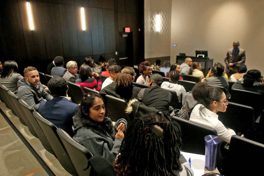 Attendees participate in sharing personal stories about race during an activity for Dr. Howard Stevenson's lecture about racial literacy at the College of Southern Nevada in Henderson, Tuesday, Fe ...