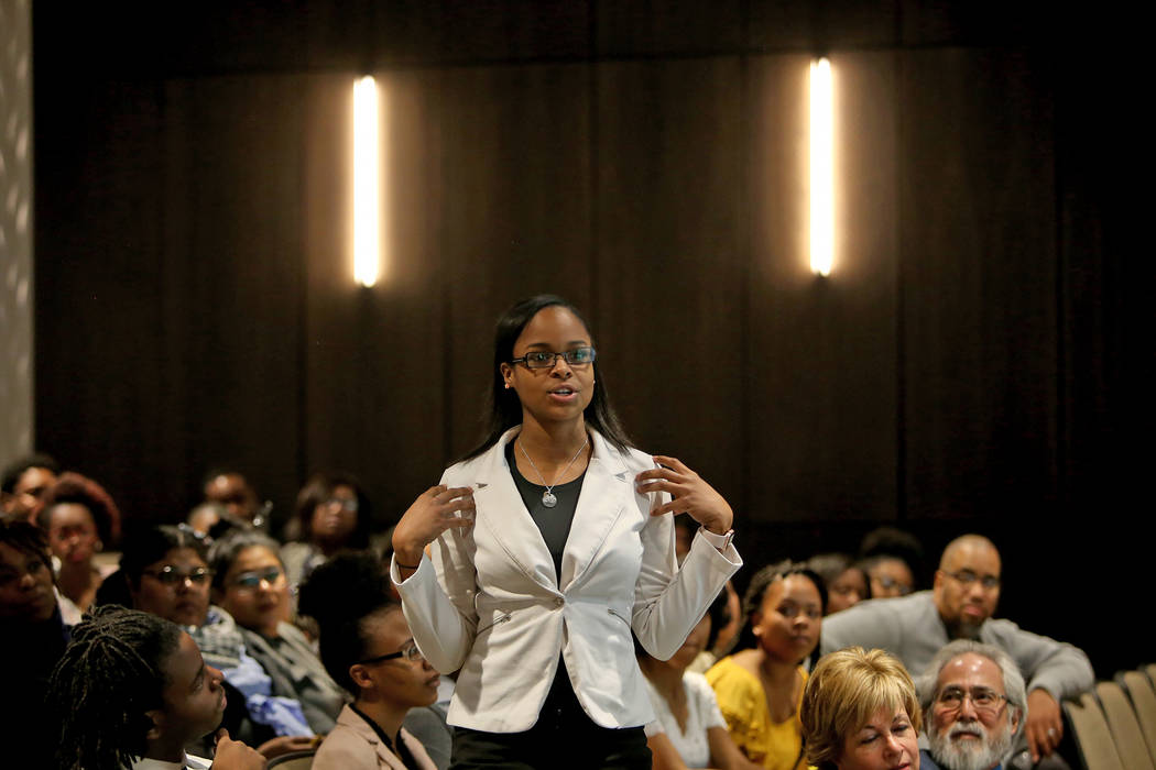 Shanya Espy, a student from Legacy high school, reflects on sharing her story during an activity for Dr. Howard Stevenson's lecture about racial literacy at the College of Southern Nevada in Hende ...