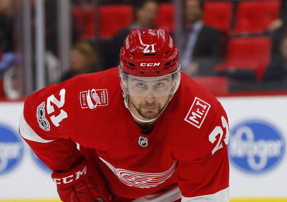 Detroit Red Wings left wing Tomas Tatar (21) plays against the Florida Panthers in the second period of an NHL hockey game Monday, Dec. 11, 2017, in Detroit. (AP Photo/Paul Sancya)
