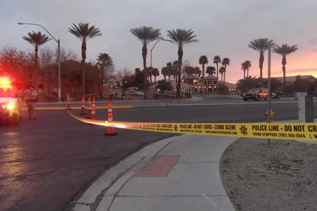 Las Vegas police have blocked off Craig Road at Puebla Street after a man was struck by a vehicle while trying to cross the street, police said Tuesday morning. (Max Michor/Las Vegas Review-Journal)