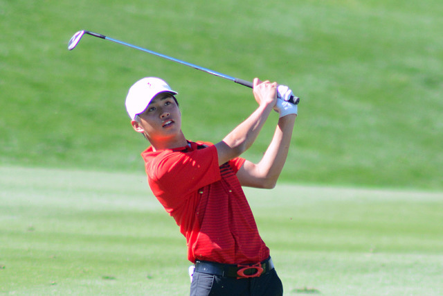 Golfer Shintaro Ban in action for UNLV at the Southern Highlands Collegiate on March 9, 2016, at Southern Highlands Golf Club. (Courtesy/UNLV)