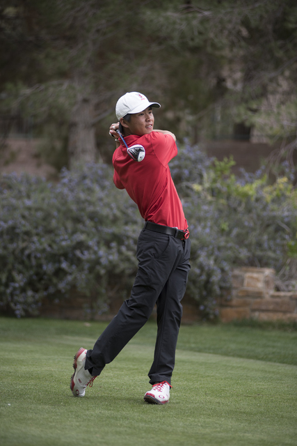 Shintaro Ban of UNLV tees off during the Southern Highlands Collegiate Masters Golf Tournament held at the Southern Highlands Golf Club in Las Vegas on Wednesday, March 11, 2015. (Martin S. Fuente ...