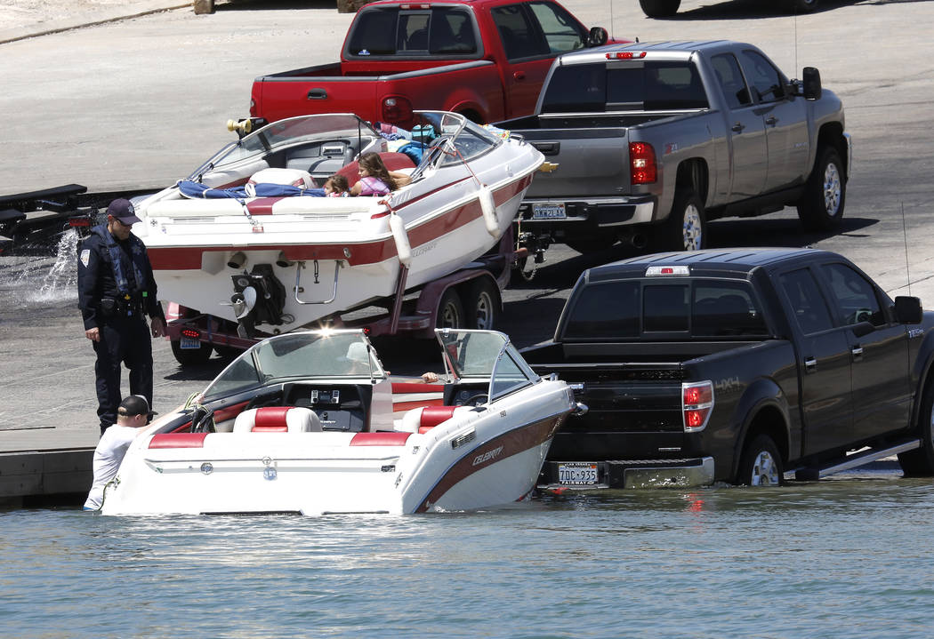 Vacationers unload their boats at Callville Bay Marina boat ramp on Lake Mead Recreational Area, on Friday, May 26, 2017. (Bizuayehu Tesfaye/Las Vegas Review-Journal) @bizutesfaye