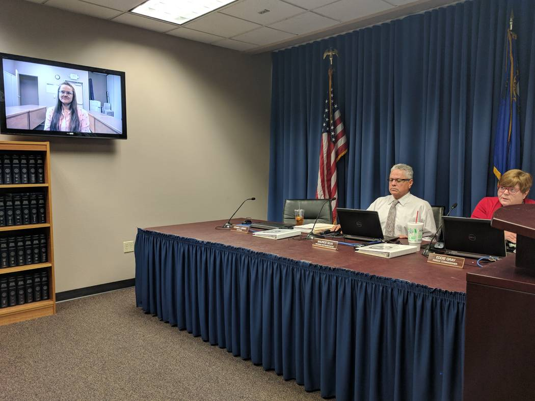 Jessica Williams, left, testified via videoconference on Feb. 27, 2018 in front of Nevada Board of Parole Commissioners hearing representative Maurice Silva, middle, and Chairwoman Connie Bisbee,  ...