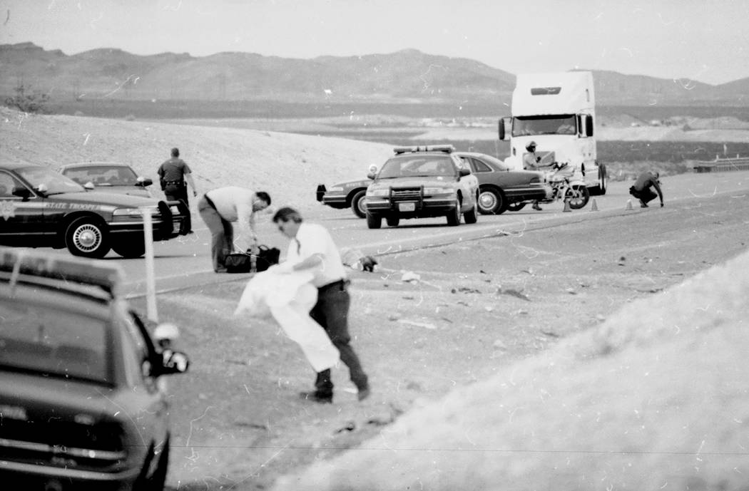 Crash scene where Jessica Williams van ran off the freeway and killed six teens who were cleaning up the I-15 median on March 19, 2000. (Las Vegas Review-Journal, file)