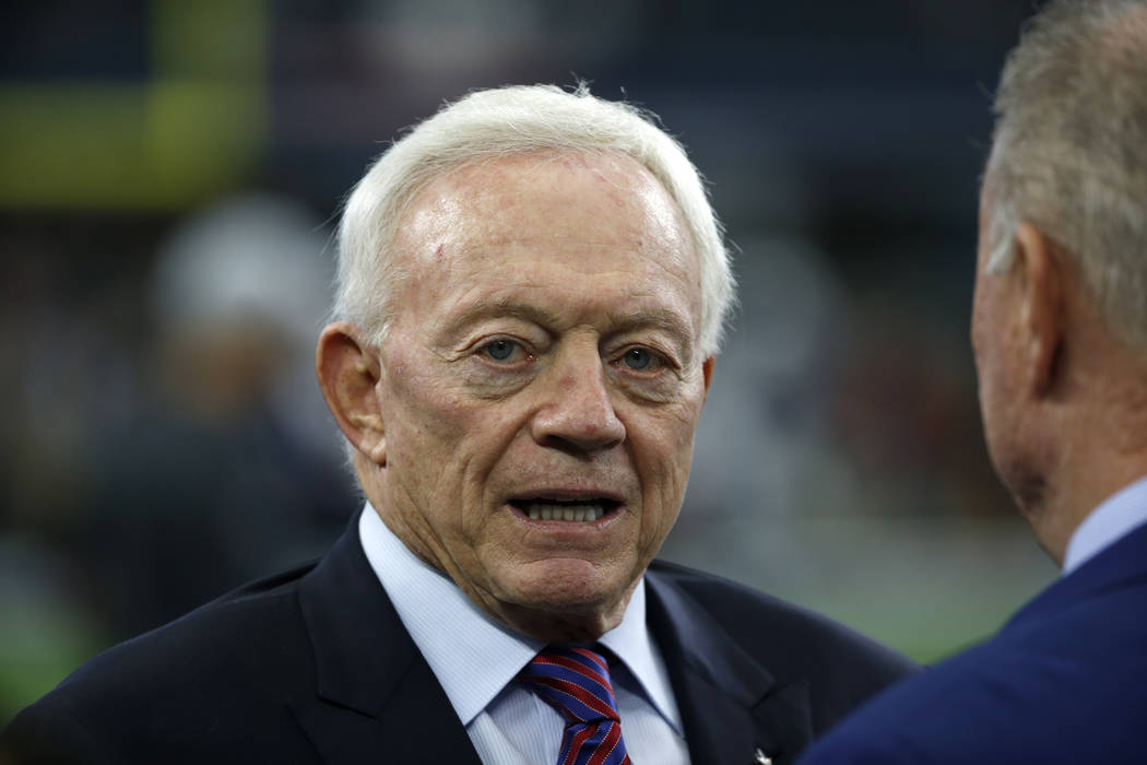 In this Nov. 23, 2017, file photo, Dallas Cowboys team owner Jerry Jones stands on the field as the team warms up before an NFL football game against the Los Angeles Chargers in Arlington, Texas.  ...