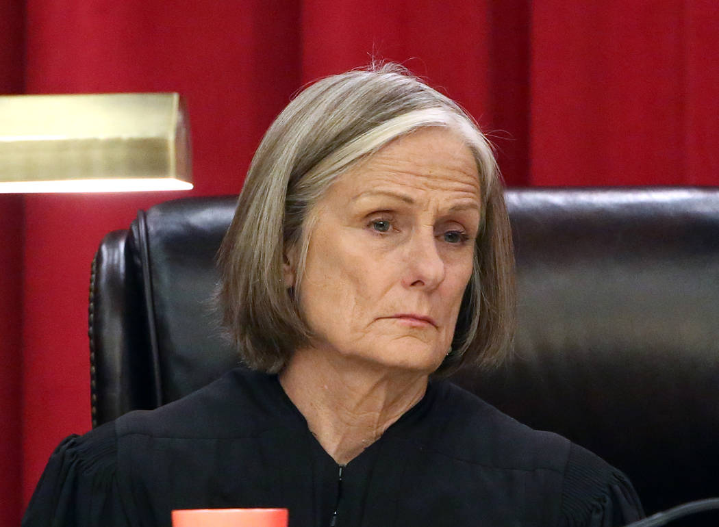 Nevada Supreme Court Justice Kristina Pickering hears the first oral arguments in the new Nevada Supreme Court building on Monday, April 3, 2017, in Las Vegas. Bizuayehu Tesfaye Las Vegas Review-J ...