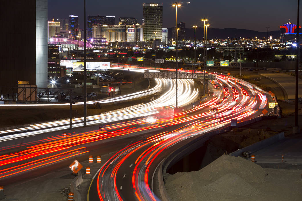 Traffic moves along Interstate 15 as seen from the Spaghetti Bowl in Las Vegas on Sunday, Jan. 28, 2018. (Richard Brian/Las Vegas Review-Journal) @vegasphotograph