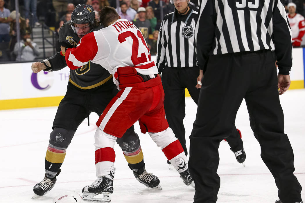 3b08d4288 Vegas Golden Knights left wing Erik Haula (56) and Detroit Red Wings left  wing
