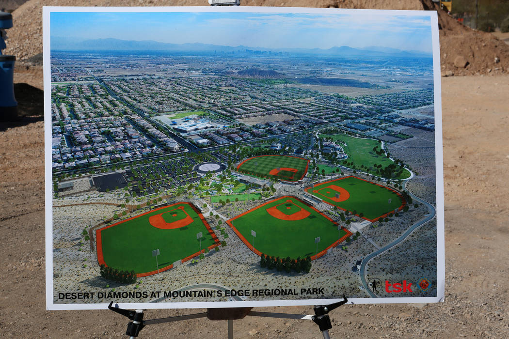 An artist's rendering of the new Desert Diamonds Baseball Complex at Mountains Edge Regional Park during a groundbreaking ceremony on Wednesday, February 28, 2018. (Michael Quine/Las Vegas Revie ...