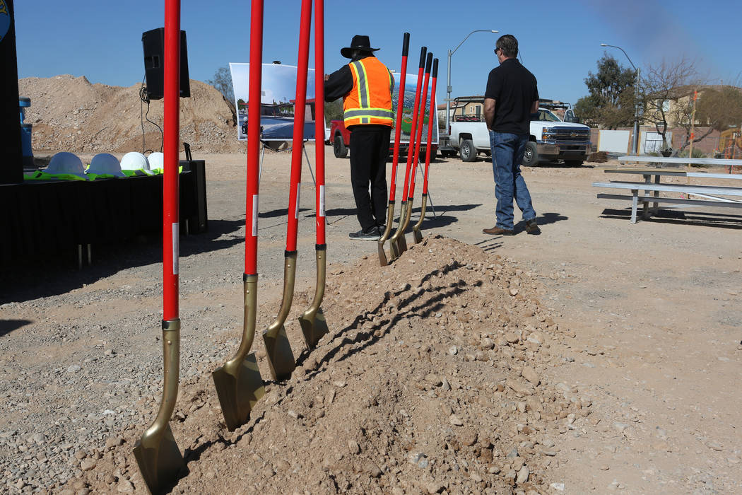 Shovels line up in preparation for the groundbreaking ceremony of the new Desert Diamonds Baseball Complex at Mountains Edge Regional Park on Wednesday, February 28, 2018. (Michael Quine/Las Vegas ...