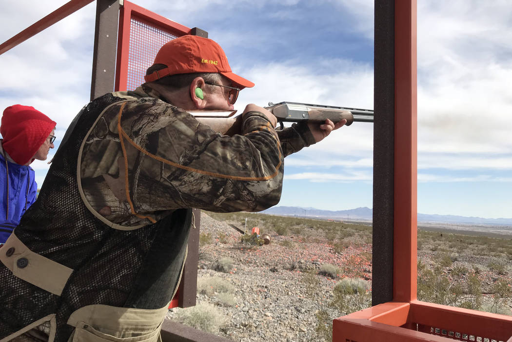 Pasquale Roberto, of California, broke six clay targets out of six at this station while participating in the 2018 Ducks Unlimited Continental Shoot held at the Clark County Shooting Complex. (Dou ...