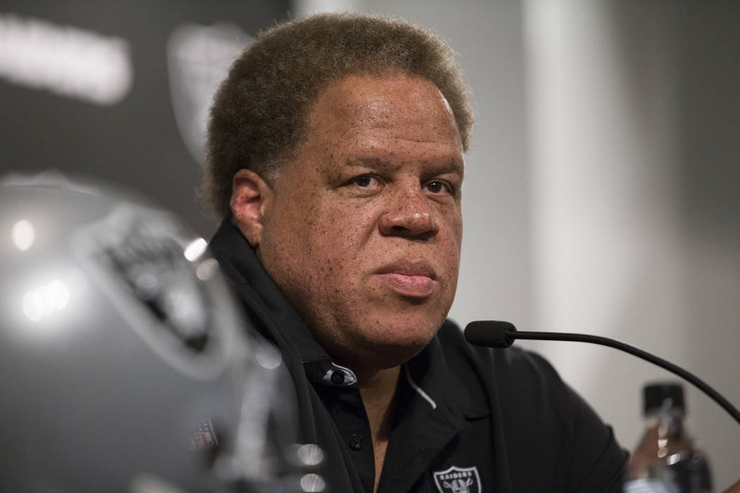 Oakland Raiders Reggie McKenzie during the final day of the NFL Draft at the Raiders headquarters on Saturday, April 29, 2017, in Alameda, Calif. Erik Verduzco Las Vegas Review-Journal @Erik_Verduzco