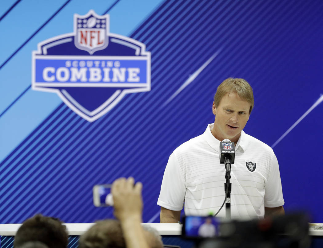 Oakland Raiders head coach Jon Gruden speaks during a press conference at the NFL Combine, Wednesday, Feb. 28, 2018, in Indianapolis. (AP Photo/Darron Cummings)