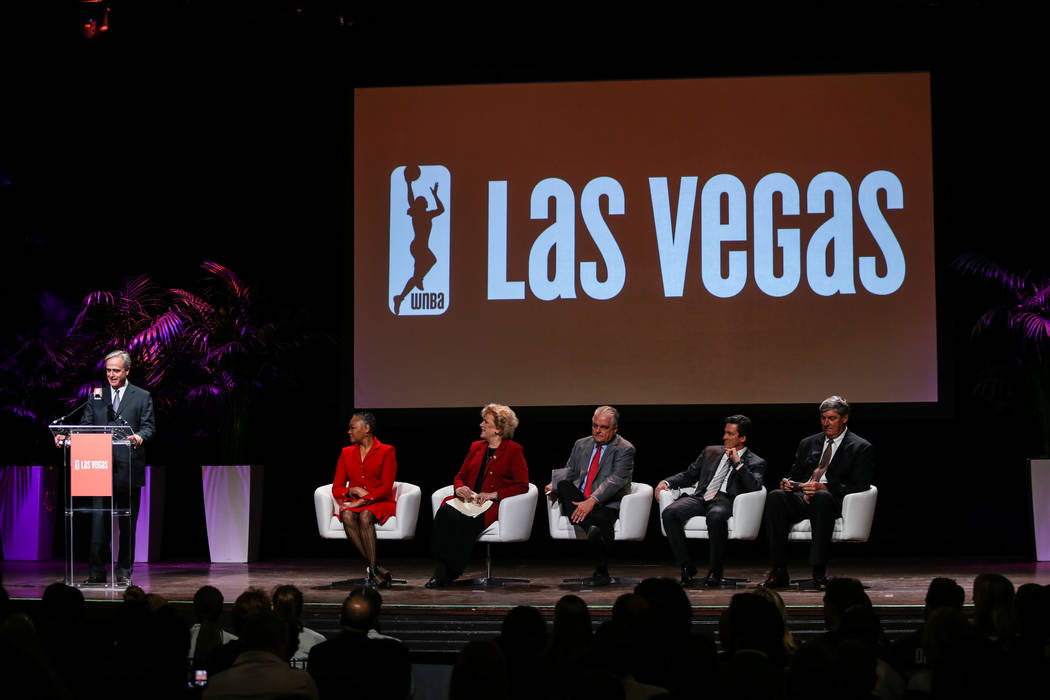 Chuck Bowling, president and chief operating officer of Mandalay Bay at MGM Resorts International, speaks during the reveal of the Las Vegas Aces WNBA basketball team at the House of Blues at Mand ...
