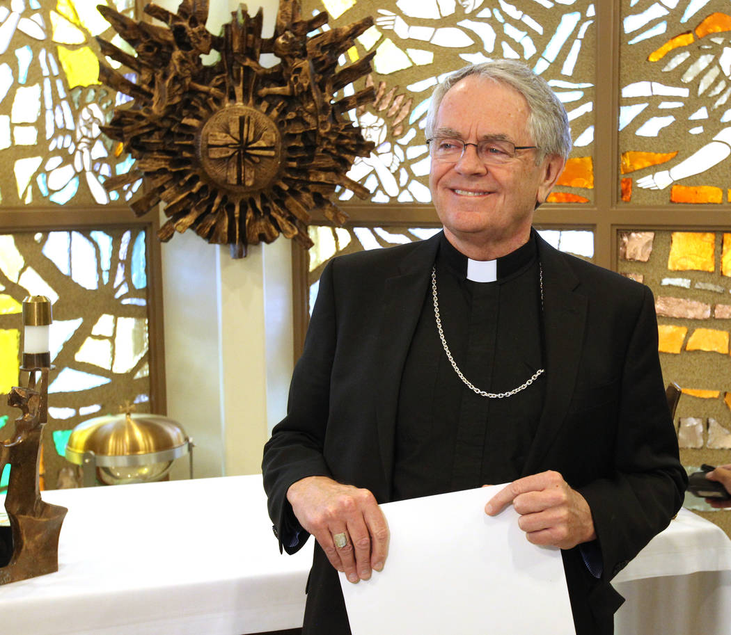 Bishop George Leo Thomas of the Diocese of Helena speaks at a news conference in the Holy Angels Chapel at the Diocese of Las Vegas Wednesday, Feb. 28, 2018, where he was introduced as the new bis ...