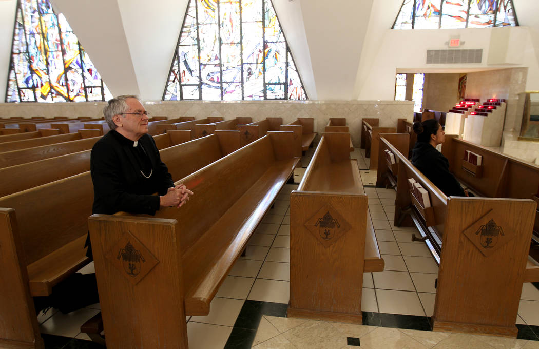Bishop George Leo Thomas of the Diocese of Helena visits Guardian Angel Cathedral Wednesday, Feb. 28, 2018, after he was introduced as the new bishop the Roman Catholic Diocese of Las Vegas. He wi ...