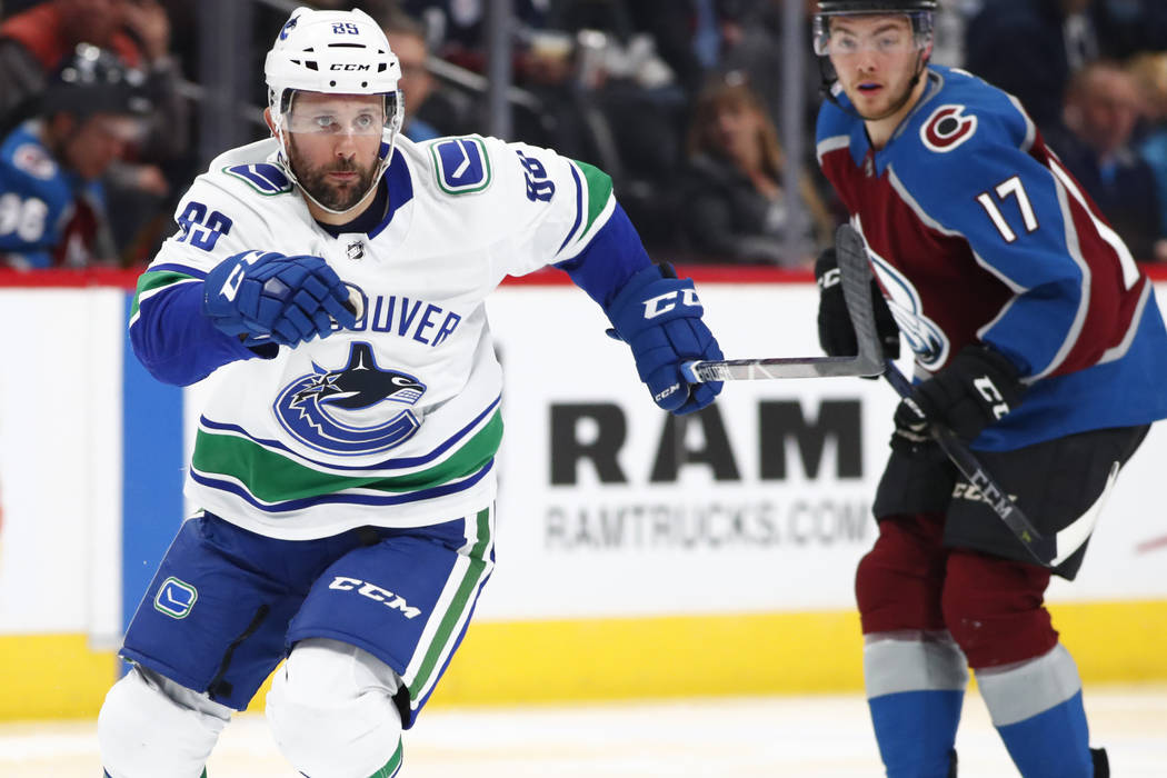 Vancouver Canucks center Sam Gagner (89) in the second period of an NHL hockey game Monday, Feb. 26, 2018, in Denver. (AP Photo/David Zalubowski)