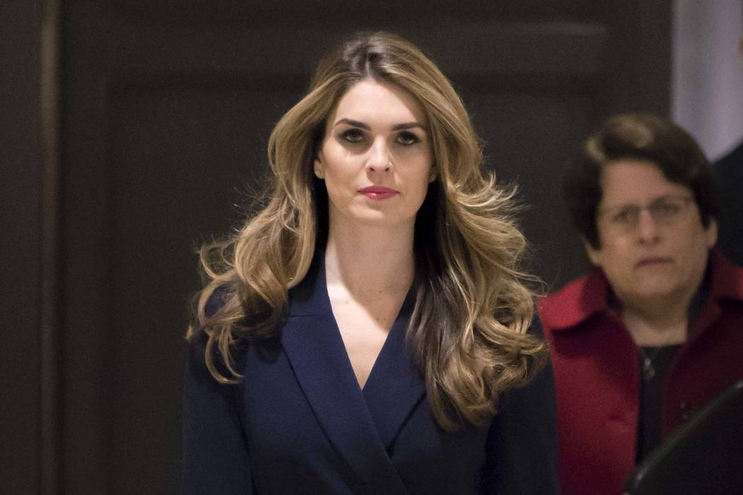 White House Communications Director Hope Hicks, one of President Trump's closest aides and advisers, arrives to meet behind closed doors with the House Intelligence Committee, at the Capitol in Wa ...