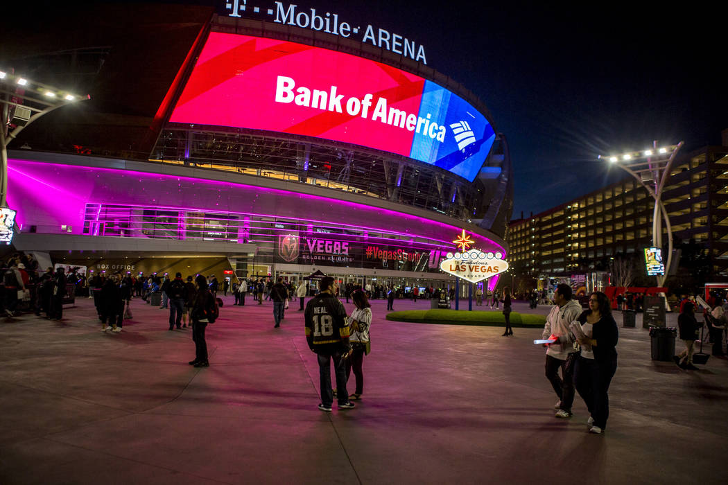 Pep rally attendees walk around on Toshiba Plaza outside of T-Mobile Arena on Wednesday, Feb. 28, 2018.  Patrick Connolly Las Vegas Review-Journal @PConnPie
