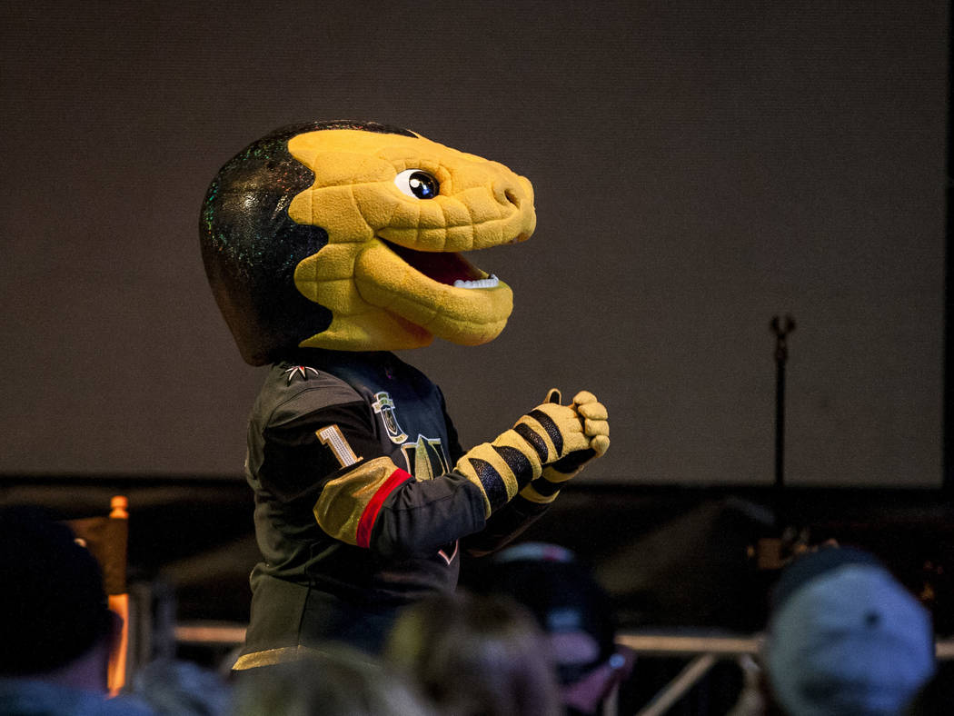 Golden Knights mascot Chance makes an appearance on stage at pep rally on Toshiba Plaza outside of T-Mobile Arena on Wednesday, Feb. 28, 2018.  Patrick Connolly Las Vegas Review-Journal @PConnPie