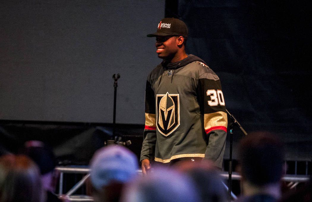 Vegas Golden Knights goaltender Malcolm Subban (30) makes an appearance during a pep rally on Toshiba Plaza outside of T-Mobile Arena on Wednesday, Feb. 28, 2018.  Patrick Connolly Las Vegas Revie ...
