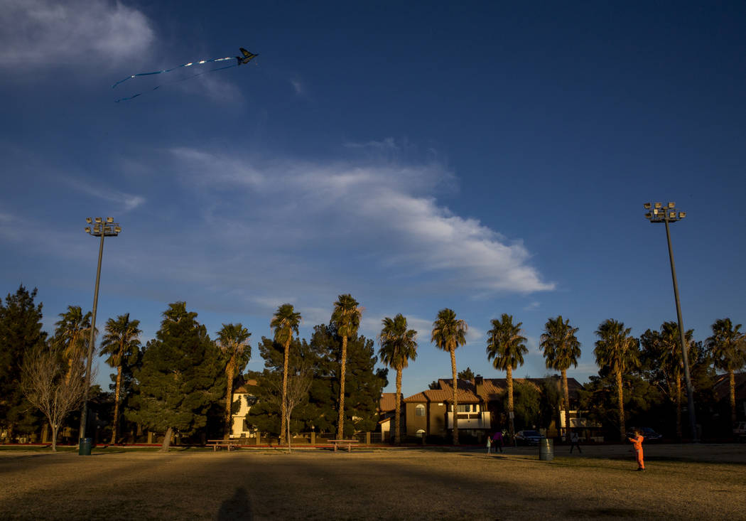 Las Vegas resident Arayah Murray, 5, flies her kite during a breezy late afternoon in Sunset Park in Las Vegas on Wednesday, Feb. 28, 2018.  Patrick Connolly Las Vegas Review-Journal @PConnPie
