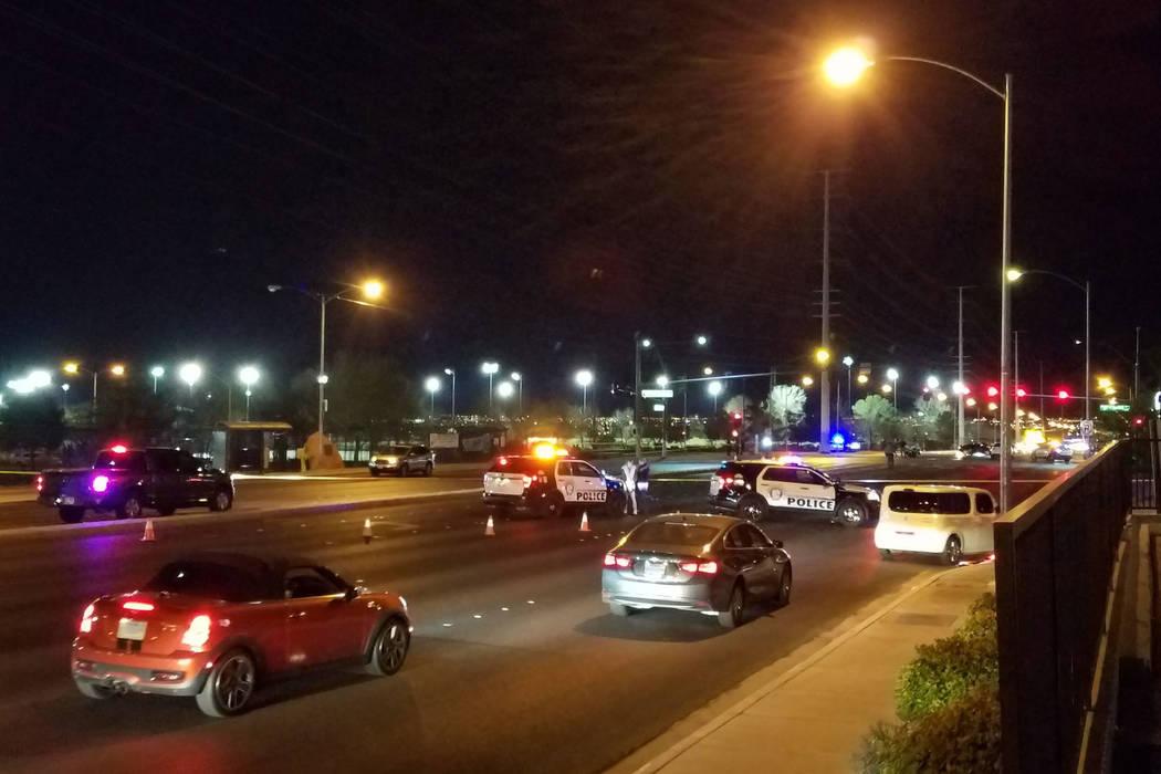 Las Vegas police respond to the scene of a fatal crash near Desert Breeze Skate Park in Las Vegas on Wednesday, Feb. 28, 2018. (Mike Shoro/Las Vegas Review-Journal)