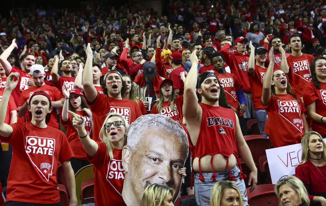 UNLV fans chant before the start of a basketball game against UNR at the Thomas & Mack Center in Las Vegas on Wednesday, Feb. 28, 2018. Chase Stevens Las Vegas Review-Journal @csstevensphoto