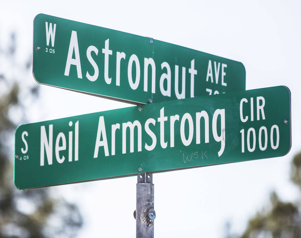 Neil Armstrong Circle and Astronaut Avenue on Wednesday, Dec. 20, 2017, in Las Vegas. Benjamin Hager Las Vegas Review-Journal @benjaminhphoto