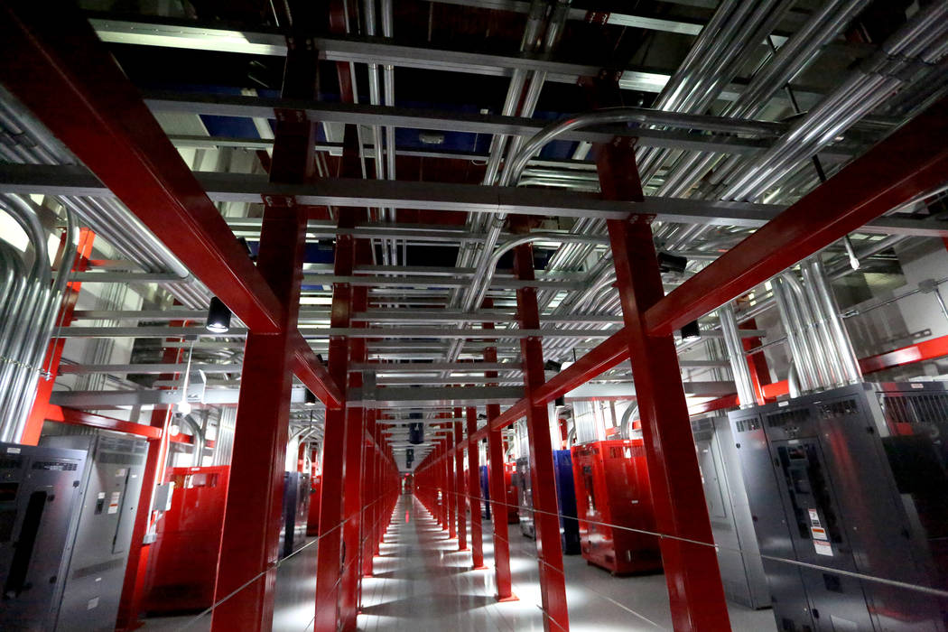 The Power Distribution Corridor also known as the Switch Power Spine channels wiring and electrical power to the entire data center at the Switch Core Campus in Las Vegas on Monday, Jan. 15, 2018  ...