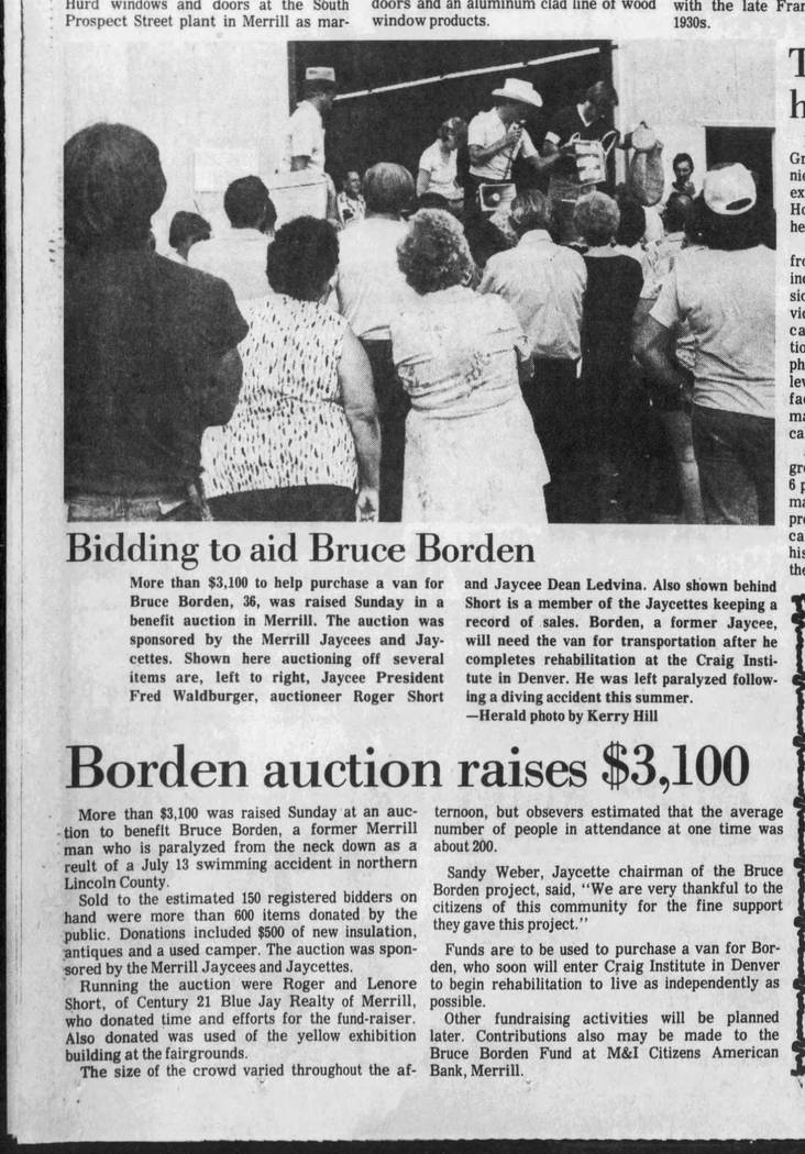 This 1981 article from the Wausau Daily Herald, of Wisconsin, includes a photo of an auction to raise money to buy a van for Bruce Borden. The father of Switch CEO Rob Roy paralyzed all his limbs  ...