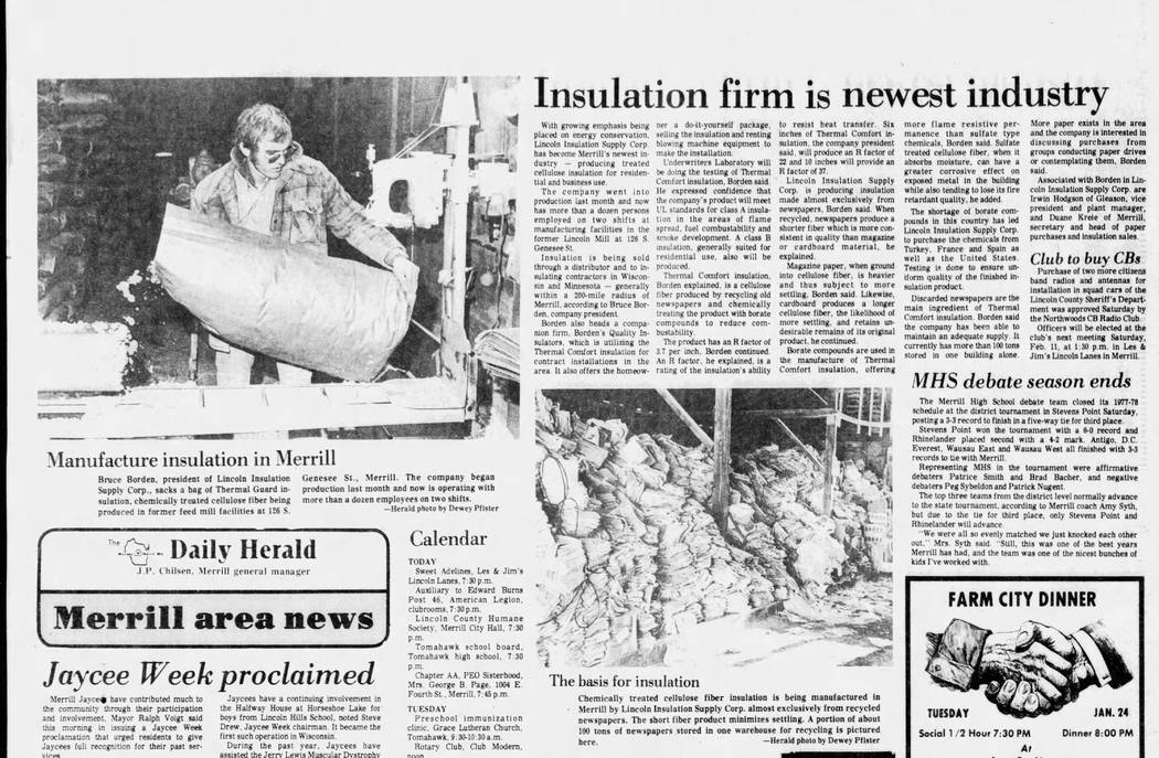 This 1978 article from the Wausau Daily Herald, of Wisconsin, includes a photo of Bruce Borden at work. Borden's son, Rob Roy, runs the Las Vegas Valley-based data center company Switch. (Dewey Pf ...