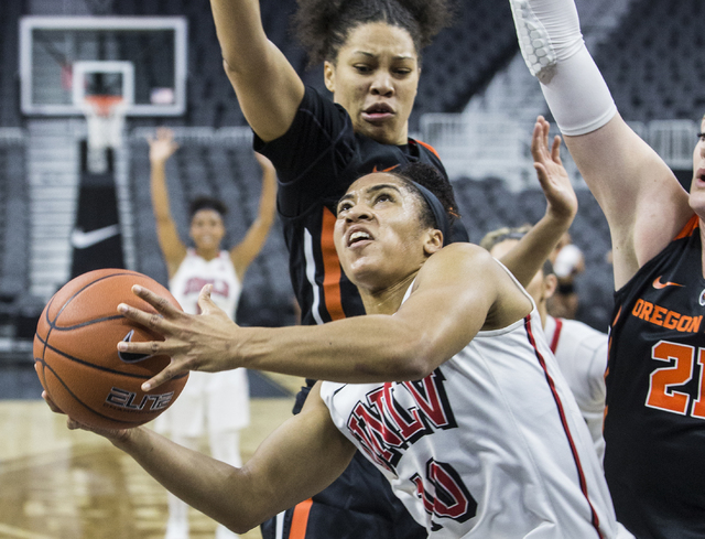 UNLV guard Nikki Wheatley (10), shown in 2016, had 18 points and four steals Saturday in the Lady Rebels' 69-56 loss at Wyoming. (Benjamin Hager/Las Vegas Review-Journal)