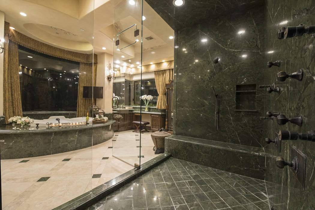 The master bath features a large shower. (Synergy/Sotheby's International Realty)