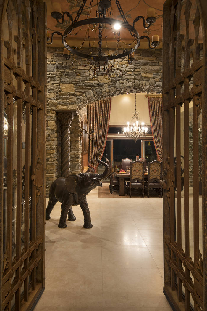 The home has a modern castle look. (Synergy/Sotheby's International Realty)