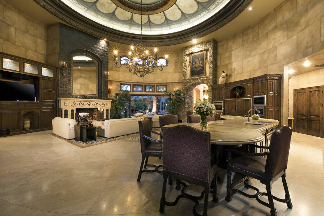 The fire place features lava rock. (Synergy/Sotheby's International Realty)
