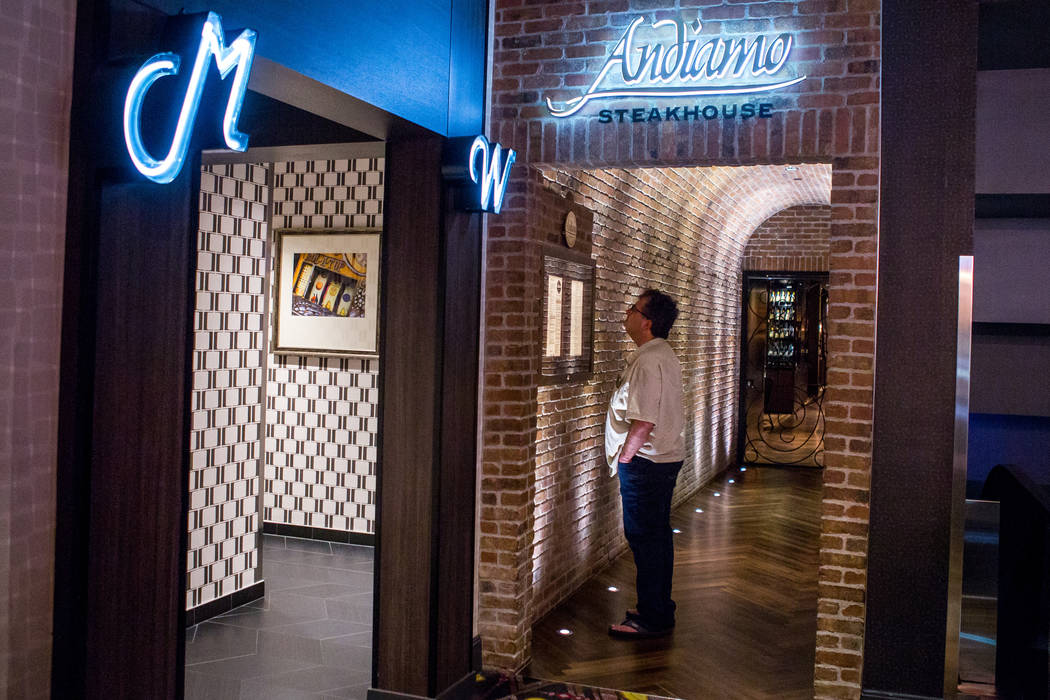 The entrance to Andiamo Italian steakhouse at D Las Vegas on Thursday, Feb. 15, 2018. The hotel-casino is now accepting Bitcoin at some of its restaurants, gift shop and hotel desk.  Patrick Conno ...