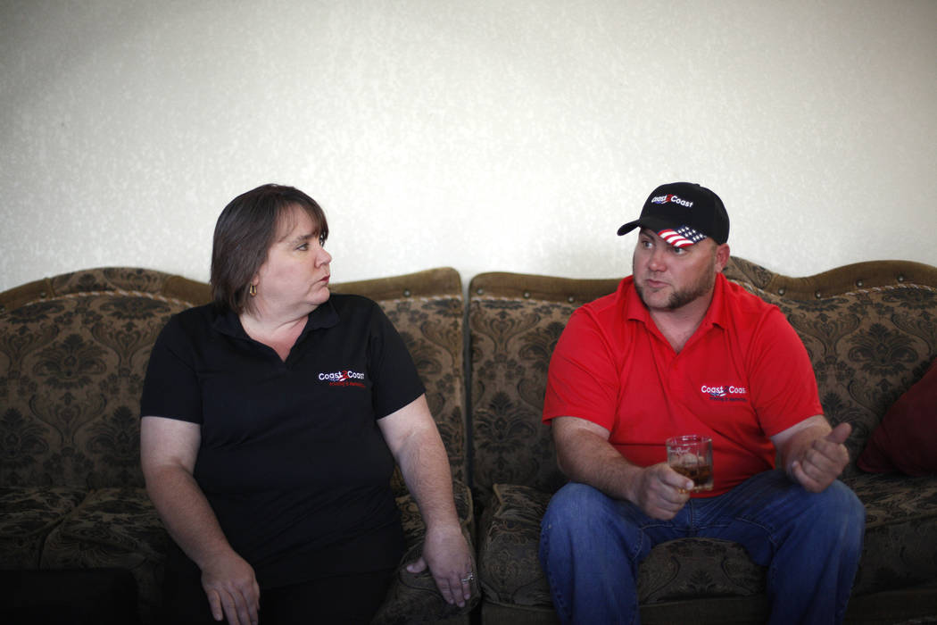 Reneé Black, left, and her husband Griffin Black talk to the Review-Journal at their home in Las Vegas, Tuesday, March 6, 2018. Reneé was a bartender at Route 91, and Griffin was a bar b ...