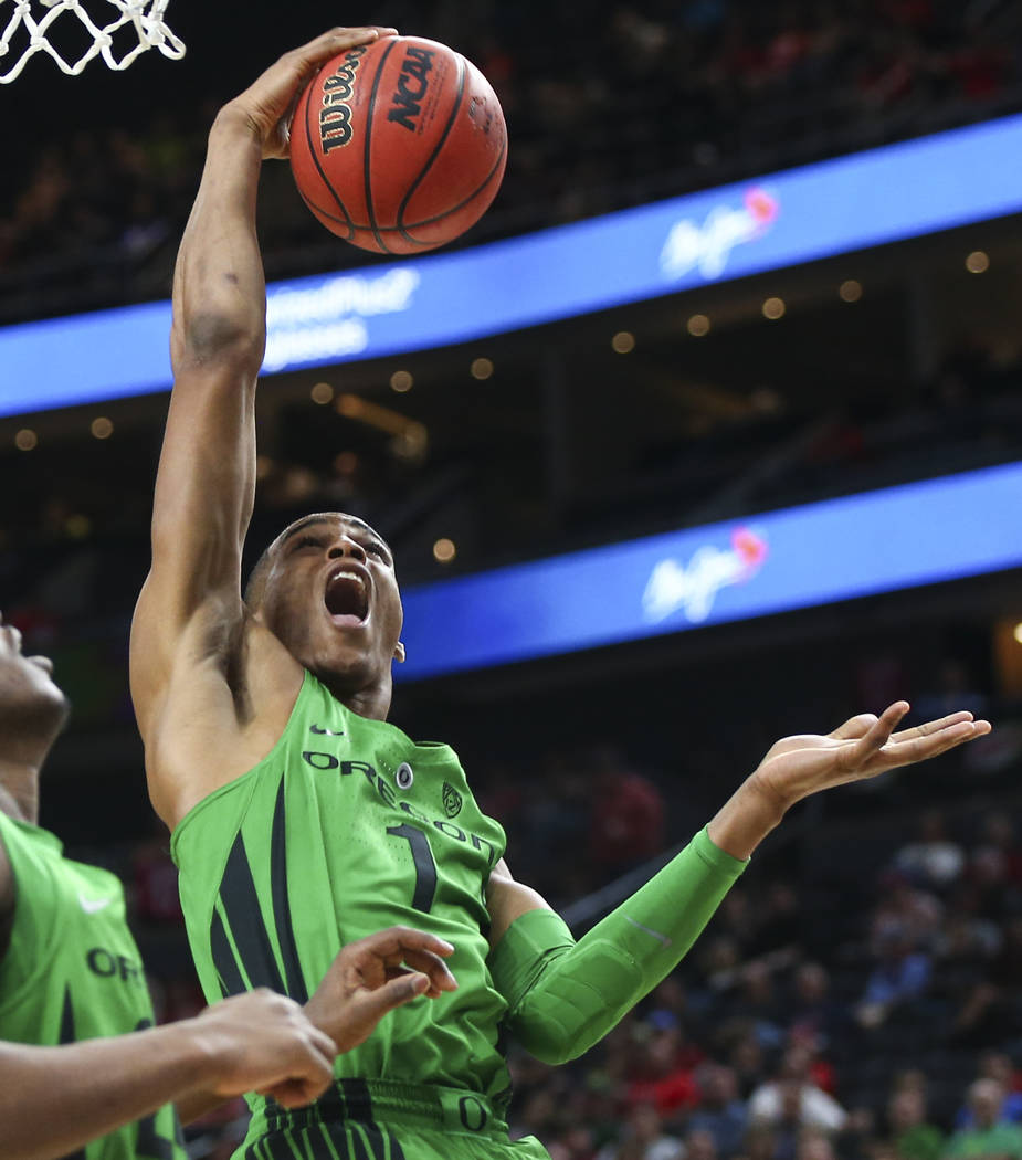 Oregon Ducks forward Kenny Wooten (1) gets a rebound against the Utah Utes during the Pac-12 basketball tournament at T-Mobile Arena in Las Vegas on Thursday, March 8, 2018. Chase Stevens Las Vega ...
